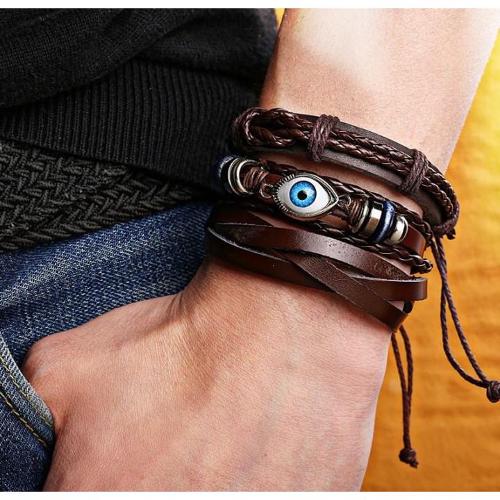 Unisex bracelet amulet in Boho style with Tibetan, oriental motives - the amulet of the Eye of Fatima, Nazar