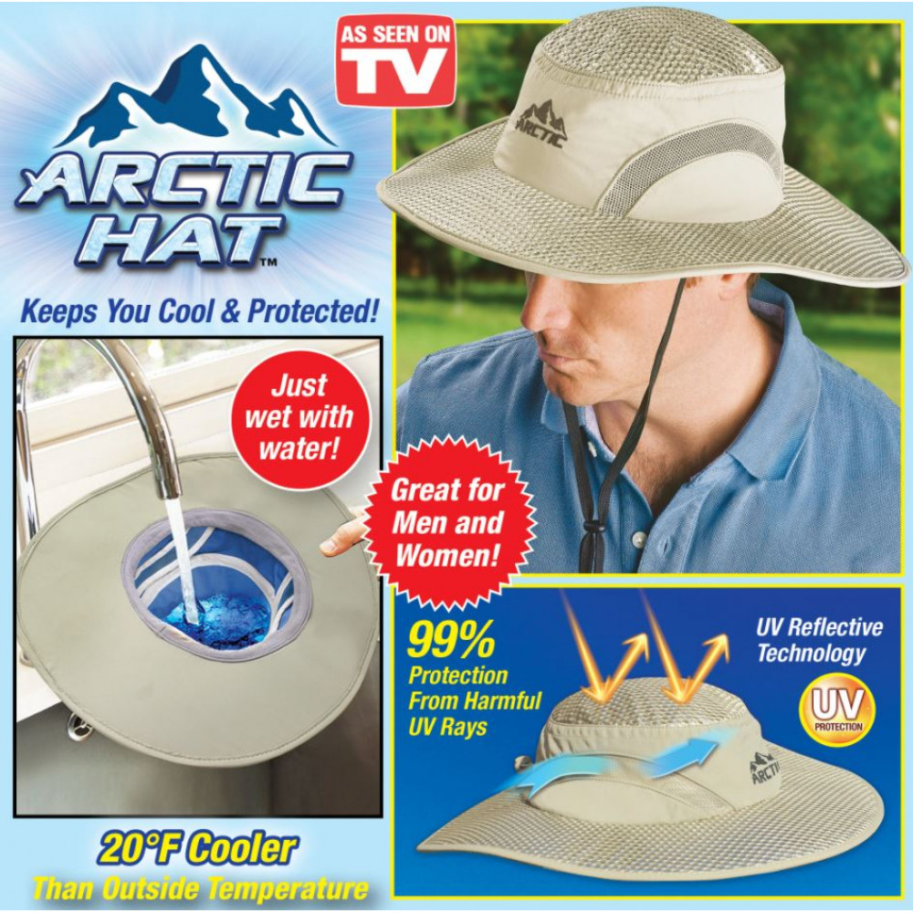 Hat for cooling in hot weather and protection from ultraviolet UV rays Arctic Hat