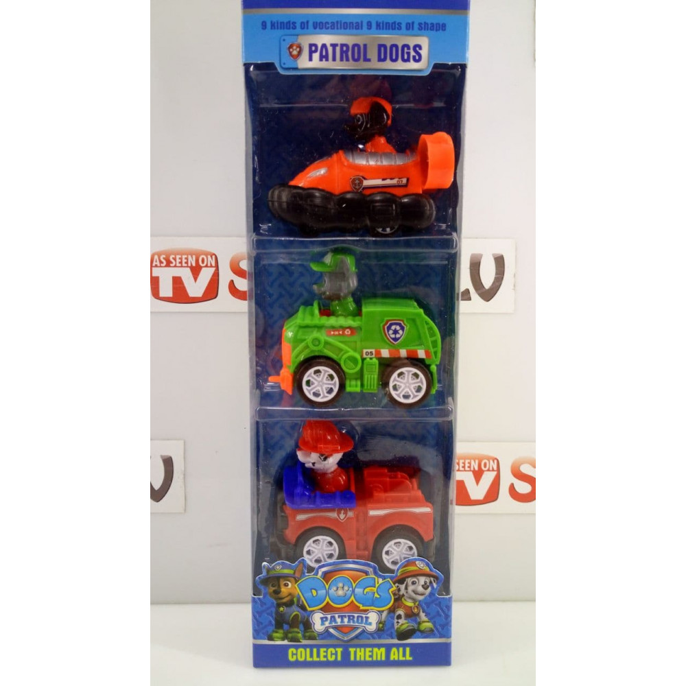 A set of collectible figures from the cartoon Paw Patrol, Zack Ryder, Chase Racer, Marshal, Sky, Fortress, Zuma, Rocky, Everest