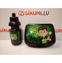 Lunch box and beverage bottle with Ben 10 cartoon character