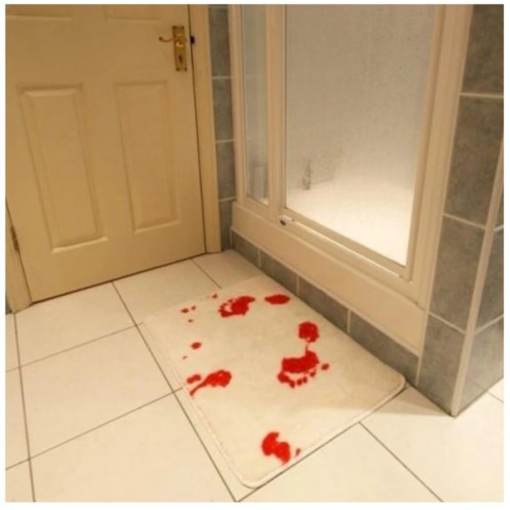 Bloody bath mat, mat with bloody footsteps