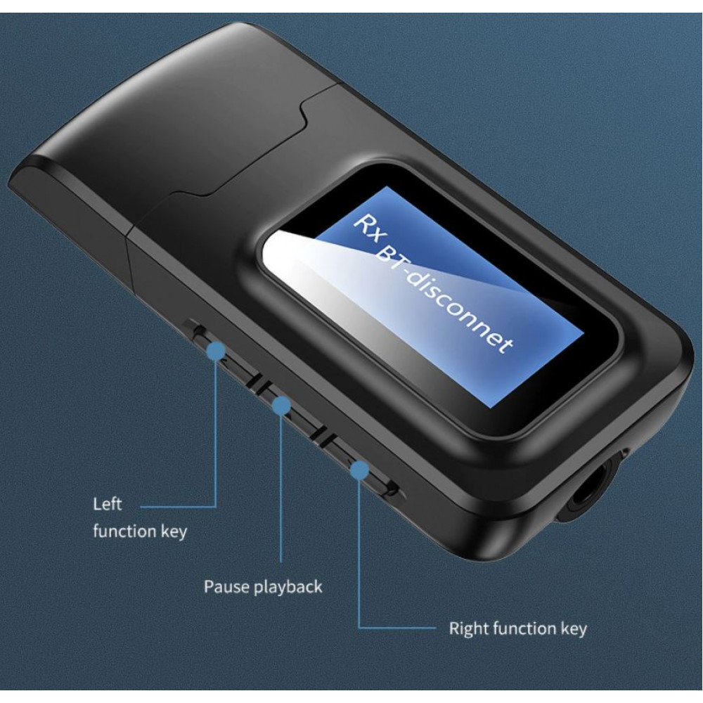 Bluetooth 5.0 adapter with hyper bass, audio receiver and transmitter with LCD display, for wireless connection of a computer or phone to an old player with audio output, headphones and speakers to a computer or smart TV