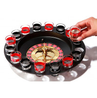 "Alcoholic game 18+ for parties ""Spin and Drink"", roulette with a wheel and glasses"