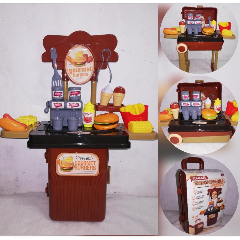 Children's play kitchen in a suitcase - stall Hamburger on wheels