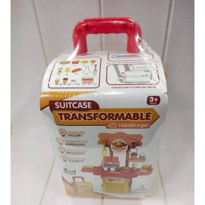 Children's play kitchen Suitcase Transformable Hamburger