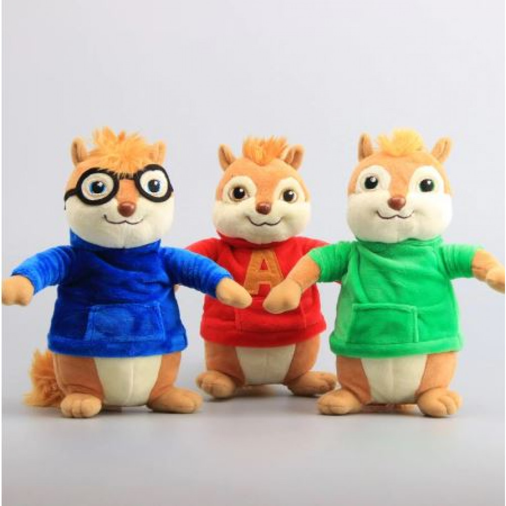 Chipmunks Alvin, Theodore and Simon toy from movie Alvin and the Chipmunks