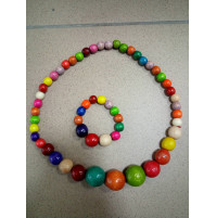 Stylish set, wooden beads and bracelet, choice of colors, Buddhist sandalwood buds, rosary for meditation, yoga bracelet