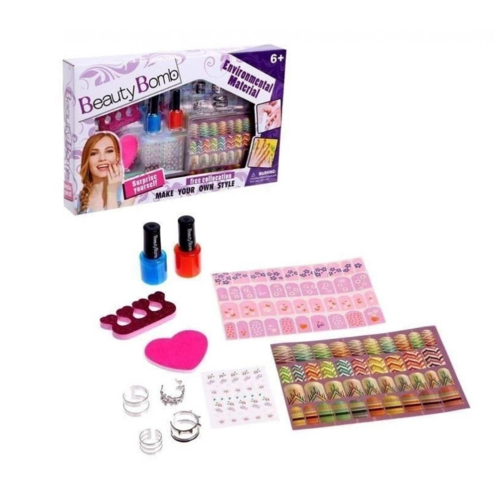 Beauty Bomb Kids Manicure Pedicure Set for Girls Safe Varnishes Finger Separator Nail Stickers with Colorful Designs