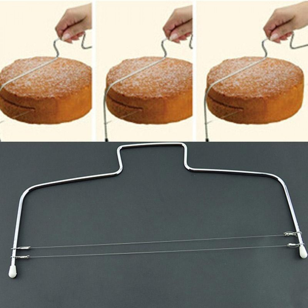 Knife string for easy cutting of cakes and bisquits
