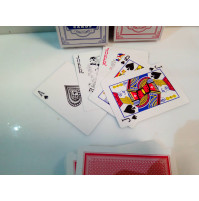 Set of playing cards with a red or blue shirt.