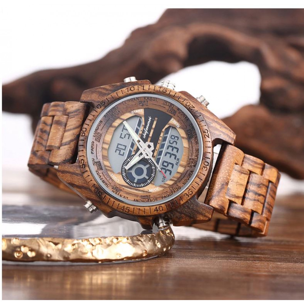 Stylish waterproof men's watch with wooden case and gift box, the perfect gift for men