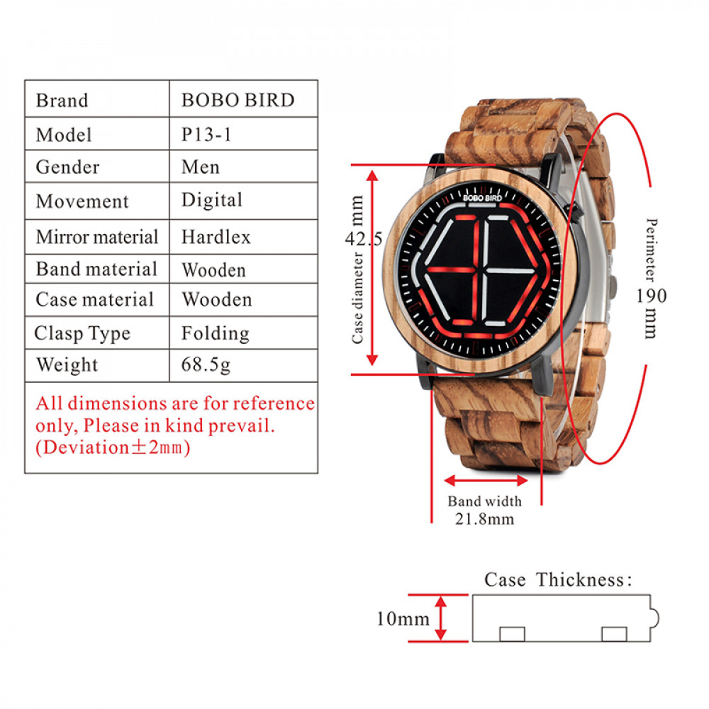 BOBO BIRD LED Display Watch Men relogio masculino Night Vision Digital Mens Watches