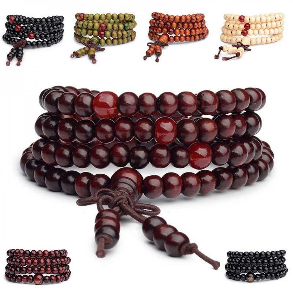 Stilīga dizaineru aproce no koka krellēm - budistu sandalkoka krelles, meditācijas rozārijas, jogas rokassprādze