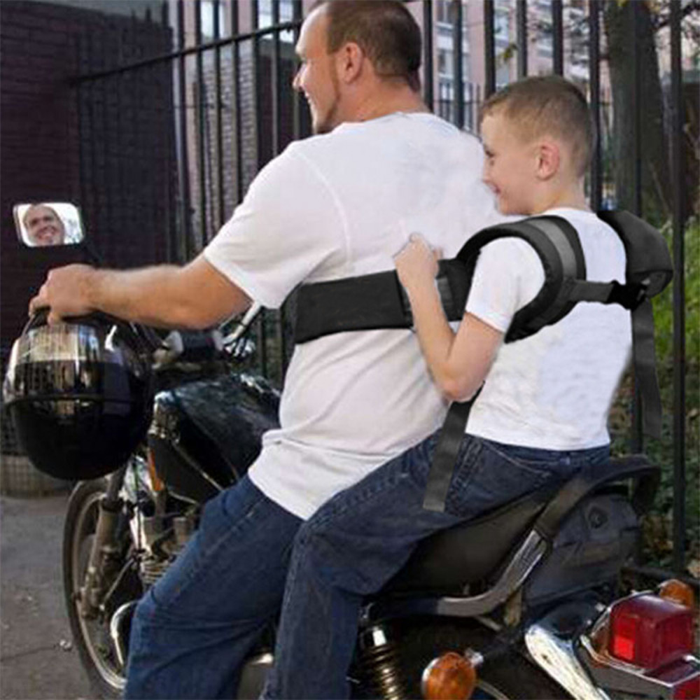 Kids children's black motorcycle-safety-belt electric vehicle safe strap carrier