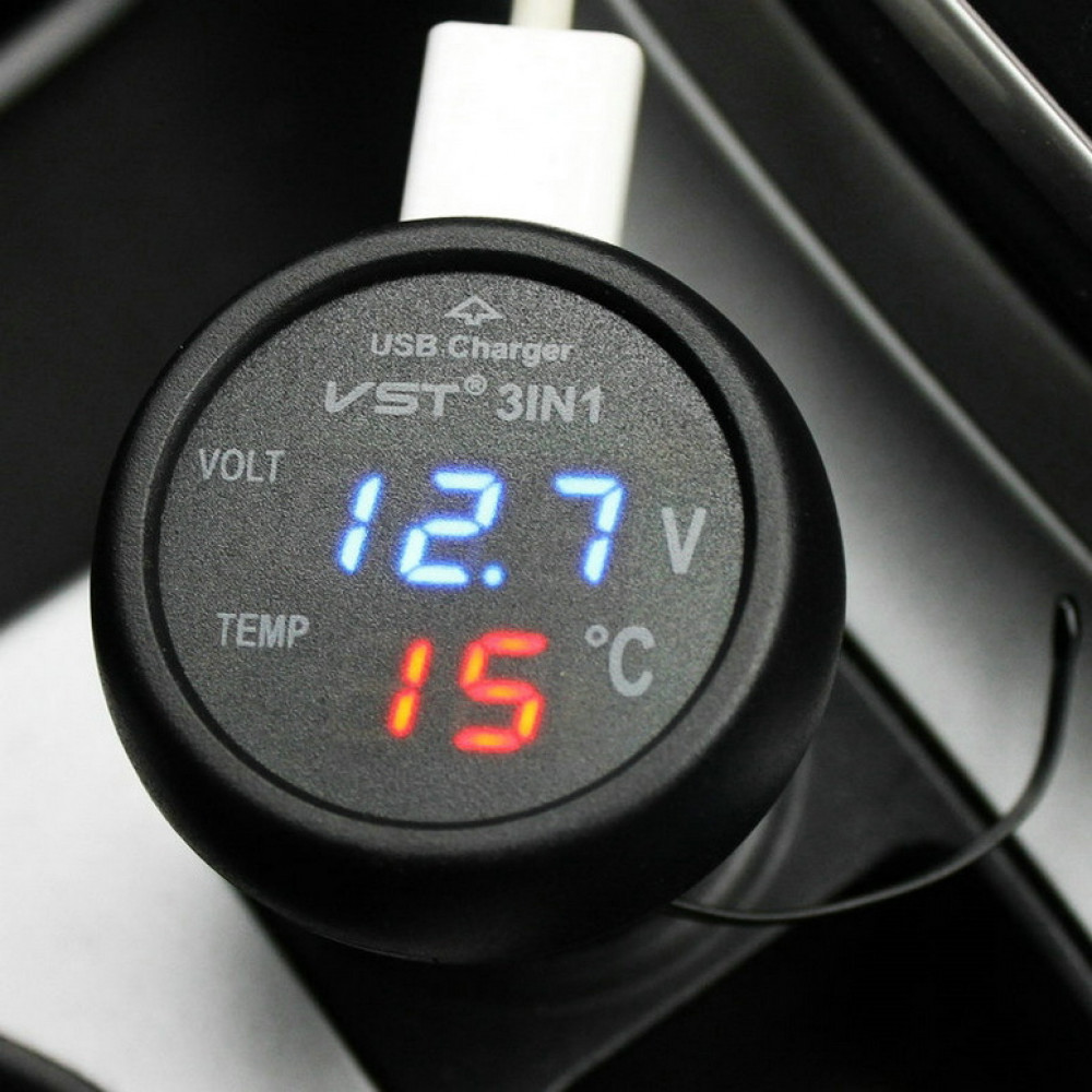 Car battery charge voltmeter with thermometer with USB