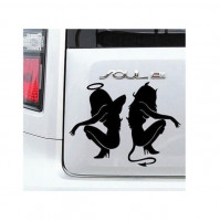 devil / angel girl sticker car decal