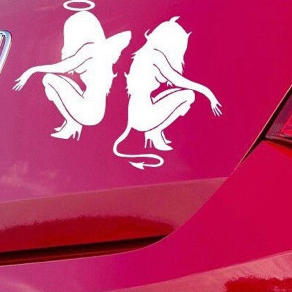 devil / angel girl sticker car decal