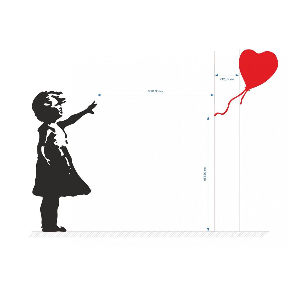"""Ielu mākslinieka Benksija grafiti """"Meitene ar balonu"""" - noņemama sienas uzlīme, stilīgs istabas dekors"""