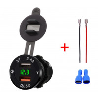 12V Car Cigarette Lighter Socket with 2 x USB Charger - 2.4A and Quick Charge 3.0.