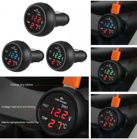 Cigarette lighter socket car battery charge voltmeter with thermometer with USB