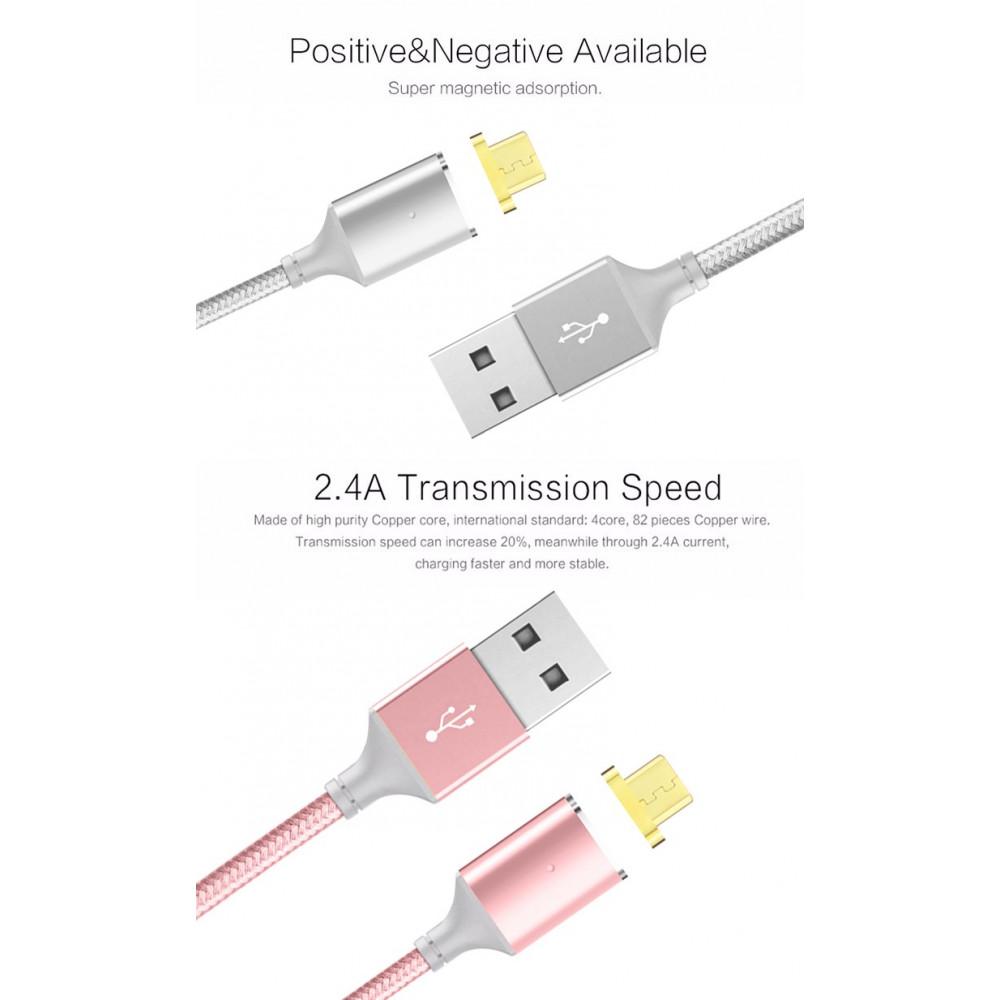 Magnētiskais micro USB kabelis telefonu uzlādēšanai