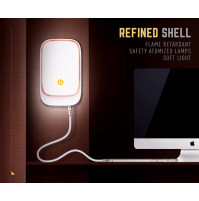 Stylish LED night light with 4 port USB charger