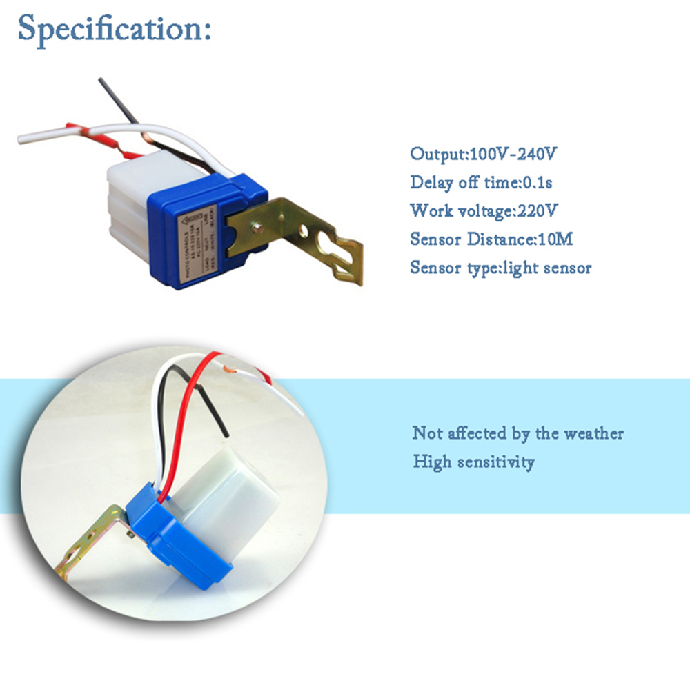 Auto On / Off Switch Controller - Photocell Light sensor