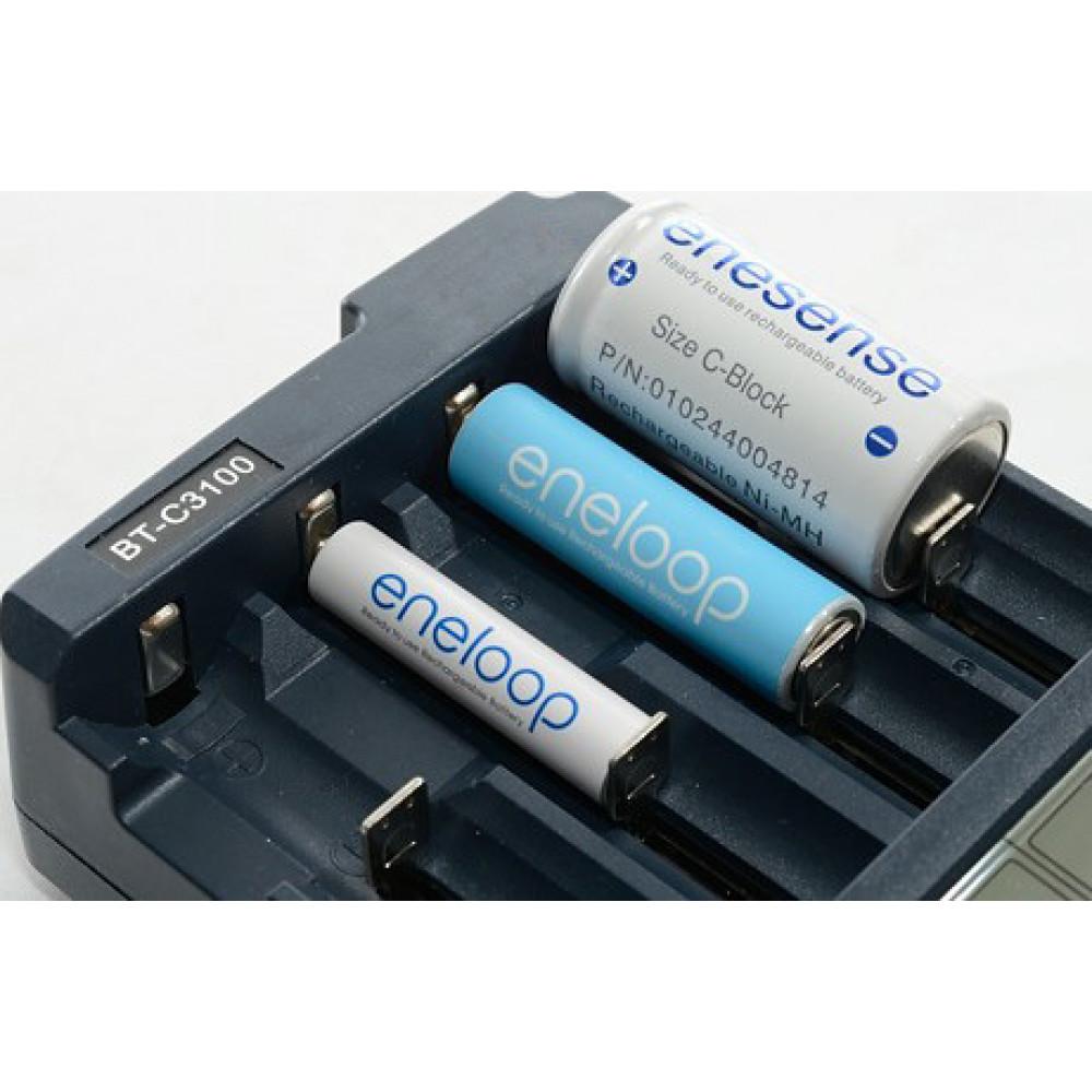 Gudra akumulatoru uzlādēšanas ierīce Opus BT-C3100 V2.2 Smart 4 Port Universal Battery Charger LCD Li-ion NiCd NiMh AA AAA 10440 14500 16340 17335 17500 18490 17670