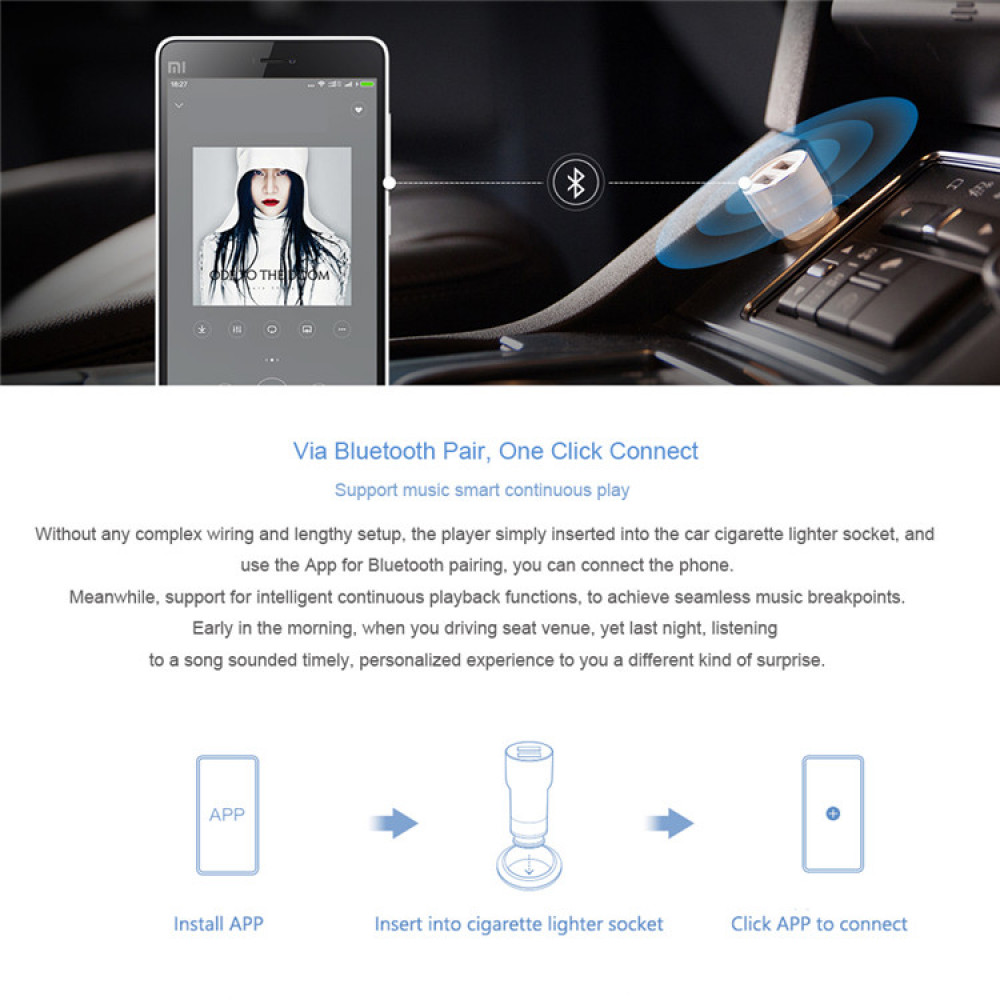 Bluetooth 4.0. Hands Free sistem with FM modulator