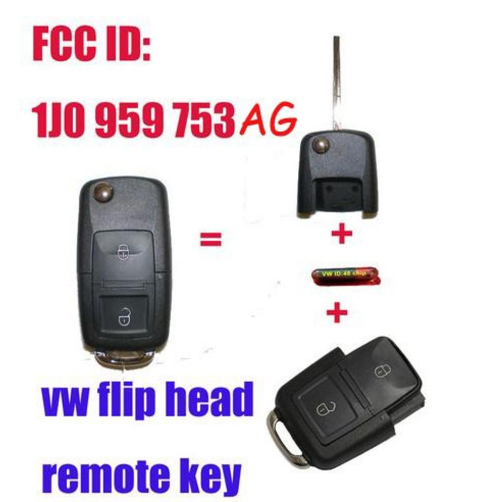 1J0 959 753 AG Folding Remote Key Fob 2B 433MHZ ID48 Chip