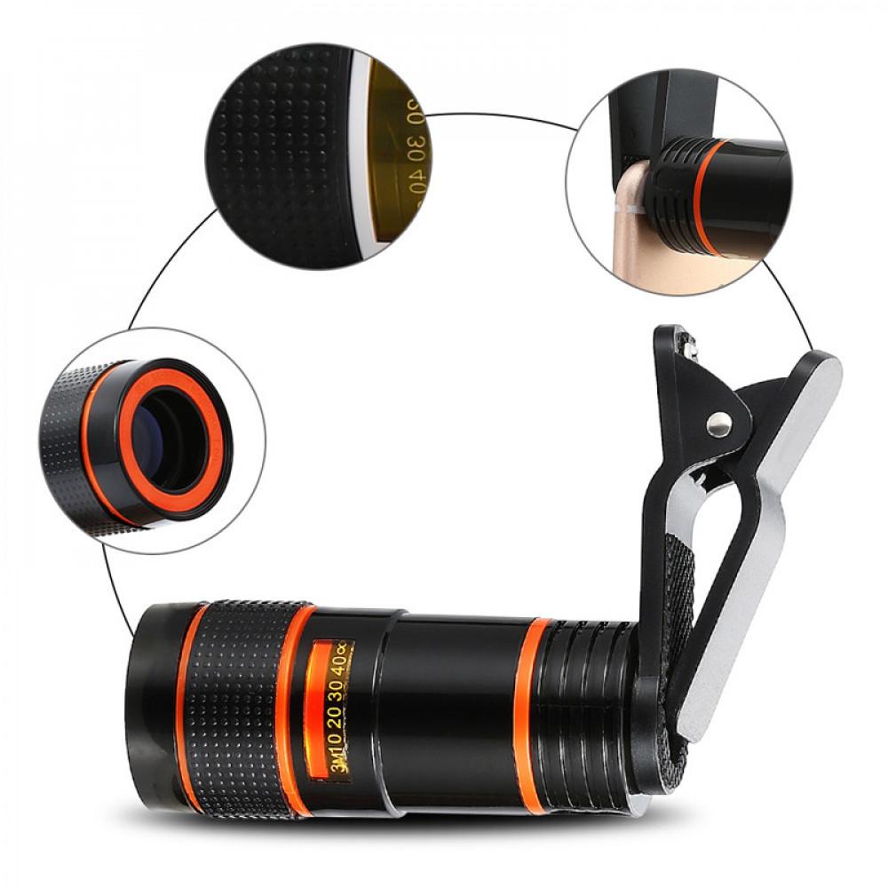 Teleskopiskais objektīvs ar universālo stiprinājumu telefoniem