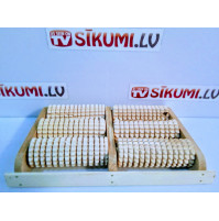 Timber massage roller with three teeth rows for better feet massage