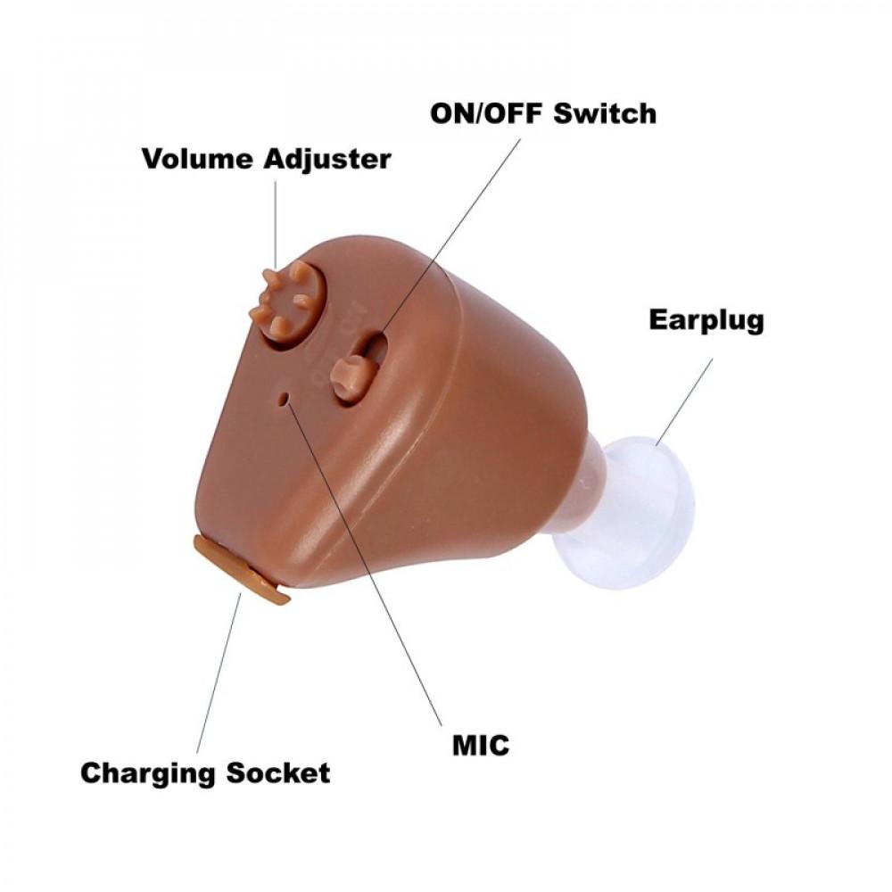 Uzlādējamais iekšauss mini skaņas pastiprināšanas aparāts dzirdes uzlabošanai