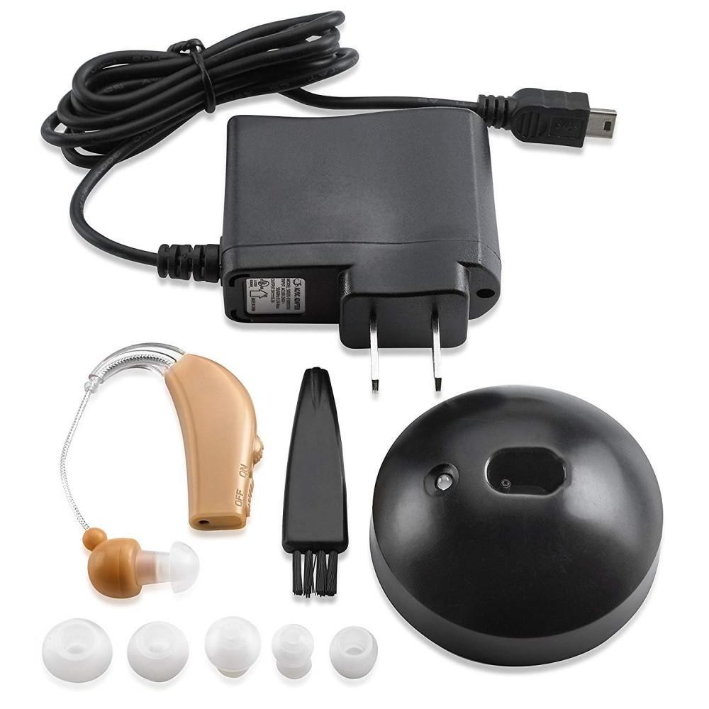 Uzlādējamais aizauss mini skaņas pastiprināšanas aparāts dzirdes uzlabošanai