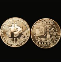 Bitcoin dāvanu apzeltīta kolekcijas monēta bitkoins