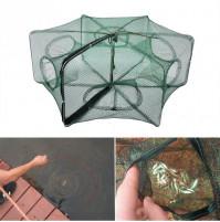 Folded Portable Hexagon 6 Hole Automatic Fishing Shrimp Trap Fishing Net Fish Shrimp Minnow Crab Baits Cast Mesh Trap
