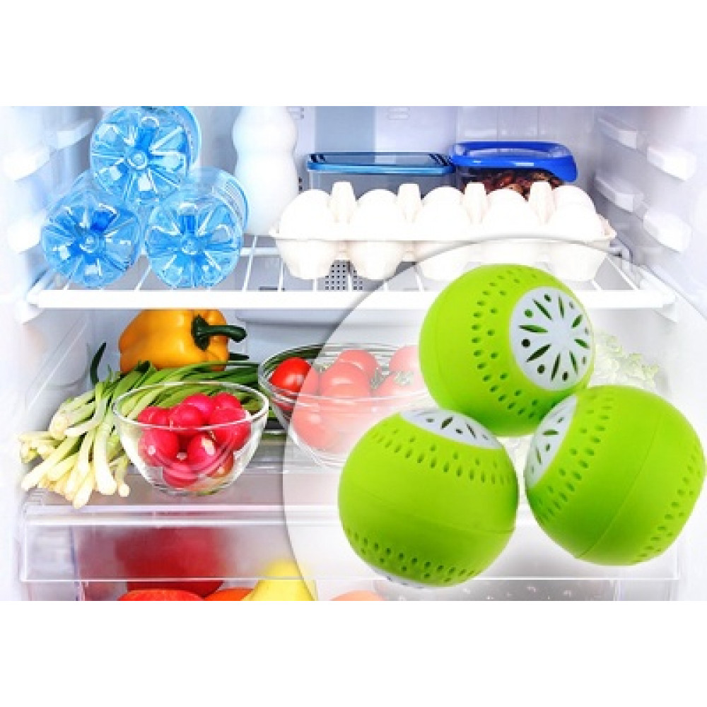 Balls in the fridge absorbing odors