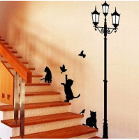 Black Latern and Cats Bird Wall Sticker Decals Home Decor Vinyl Art New