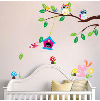 Children room wall sticker decall decor Owls and Bunny