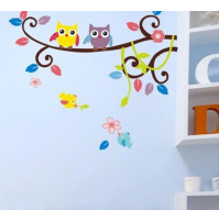 Children room wall sticker decall decor Owls on branch (blue)