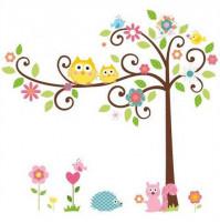 Bērnu istabas sienas dekors - uzlīmes Pūces ar vāverīti