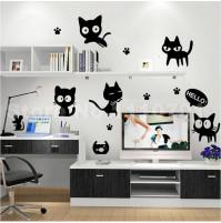 Istabas sienas dekors - uzlīme kaķi