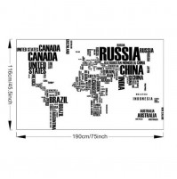 World Trip MAP Removable Vinyl Quote ART Wall Sticker Decal Mural Decor