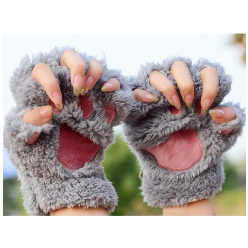 Ladies Winter Fingerless Cat Gloves
