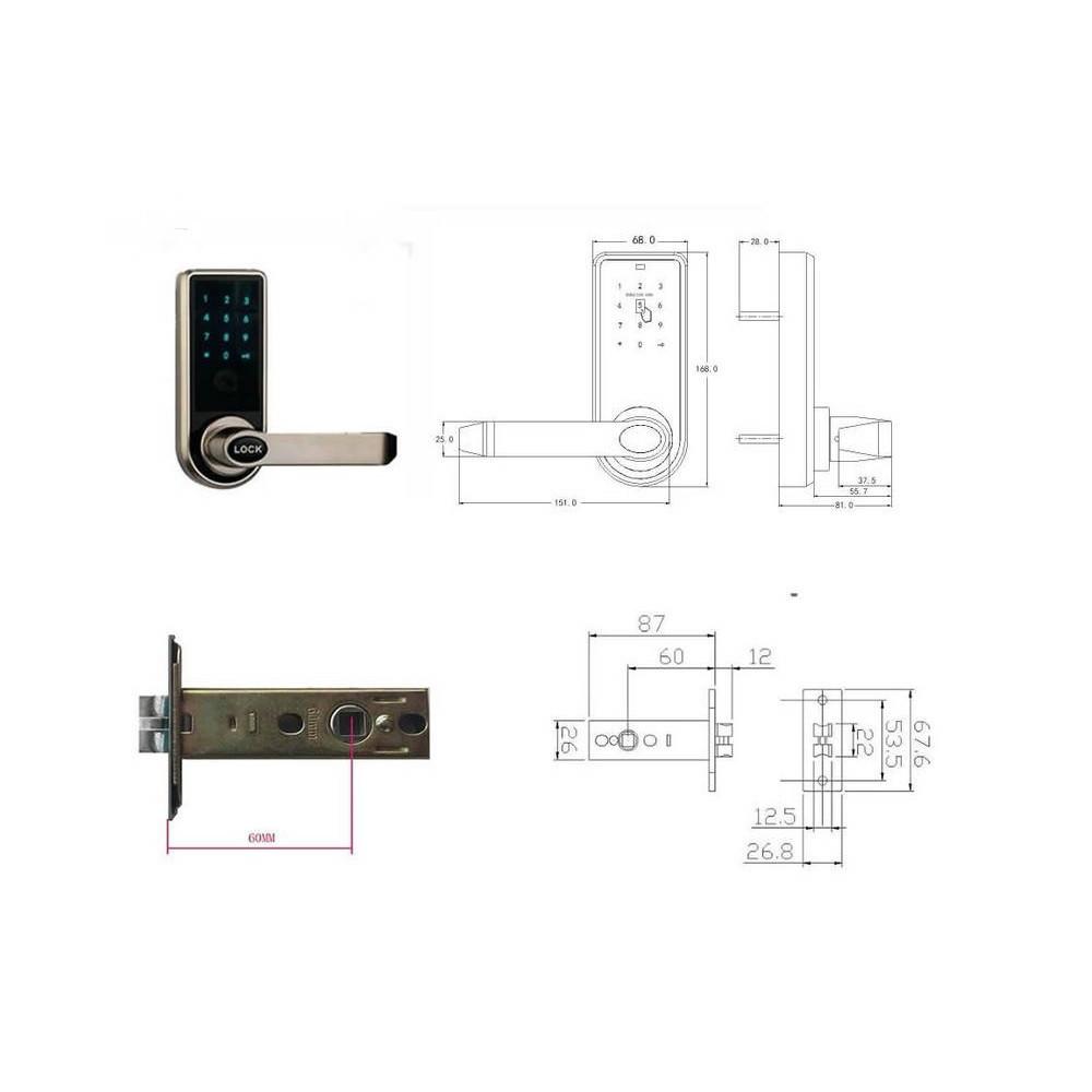Touch screen digital keypad NFC card electronic door lock