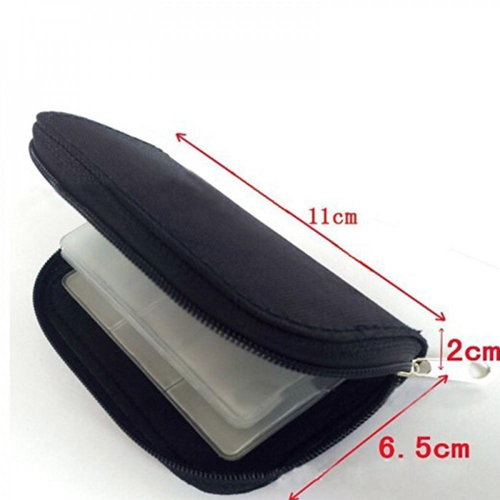 22 nodalījumu atmiņas SD, TF, XD-karšu turētājs - maciņš melnā krāsā