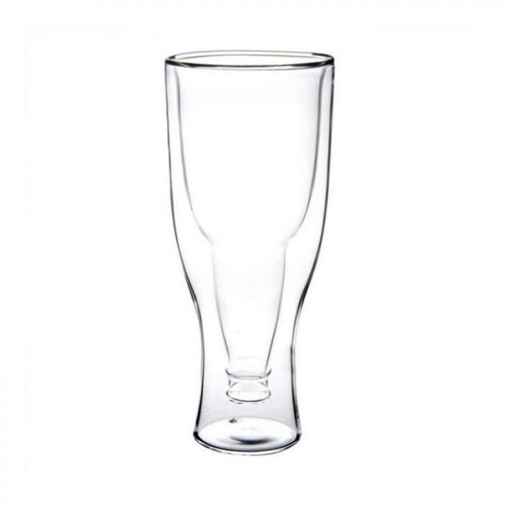 350ml Double Wall Layer Clear creative Heat-Resisting Glass Reverse Beer Bottle