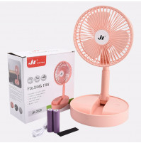 Folding stand-alone battery operated table fan with USB charging cable