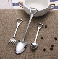 Stainless Steel Shovel Shape Spoon or Fork Long Handle Coffee Ice Cream Soup Kitchen Accessories Tableware Tool
