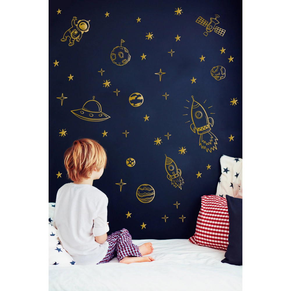 Children room wall sticker decall decor - space ships, stars and astronauts
